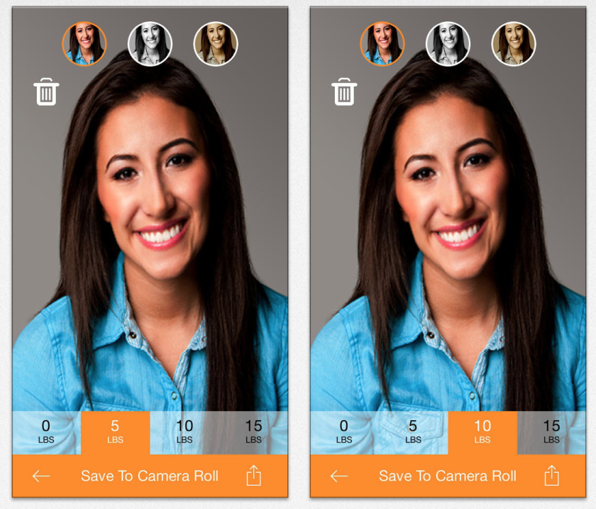New iPhone app SkinneePix makes it easy for users to look a little skinnier in their selfies.