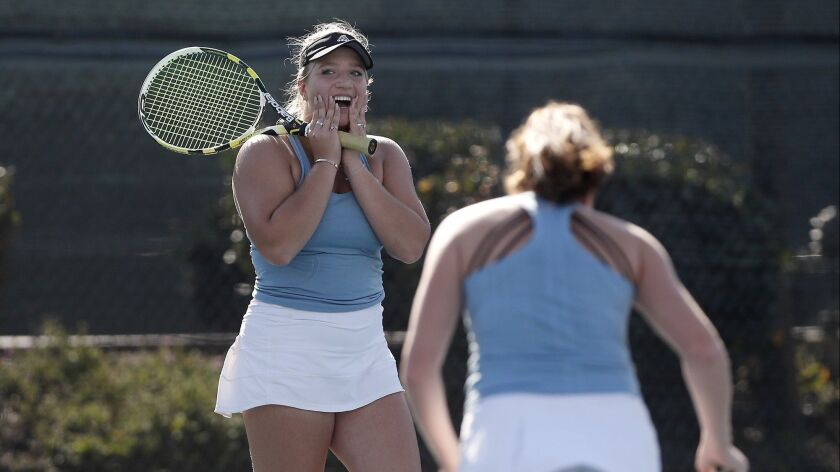 Corona del Mar High doubles players Kristina Evloeva, left, and Roxy MacKenzie, right, react after l