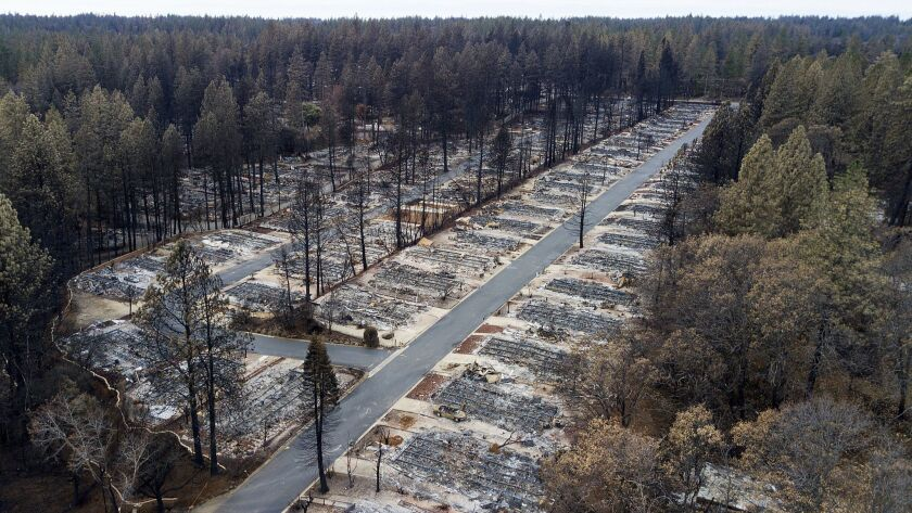 Homes leveled by the Camp Fire line the Ridgewood Mobile Home Park retirement community in Paradise,