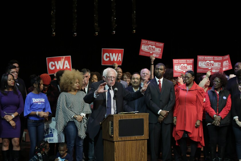 Democratic presidential candidate Bernie Sanders speaks during a news conference on Dec. 23 in Chicago.