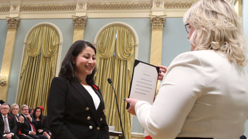 Maryam Monsef during a swearing-in ceremony at Rideau Hall in Ottawa on Nov. 4, 2015.
