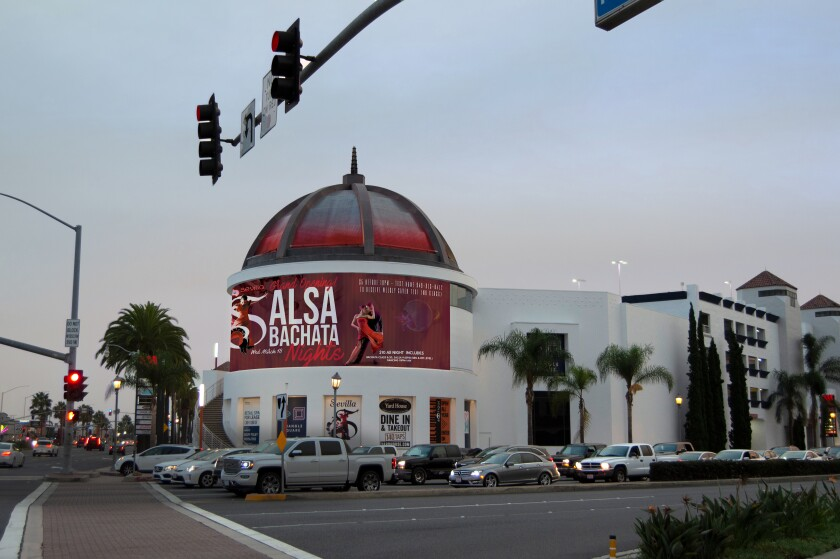 A rendering shows an LED billboard proposed for Costa Mesa's Triangle Square.