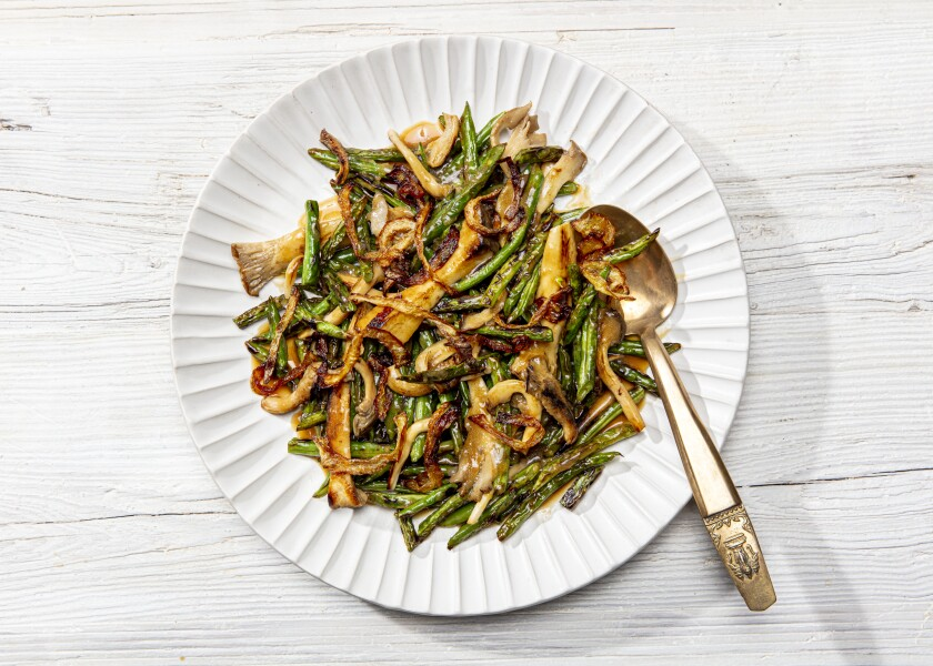 Dry-Fried Green Beans and Mushrooms With Sizzled Onions