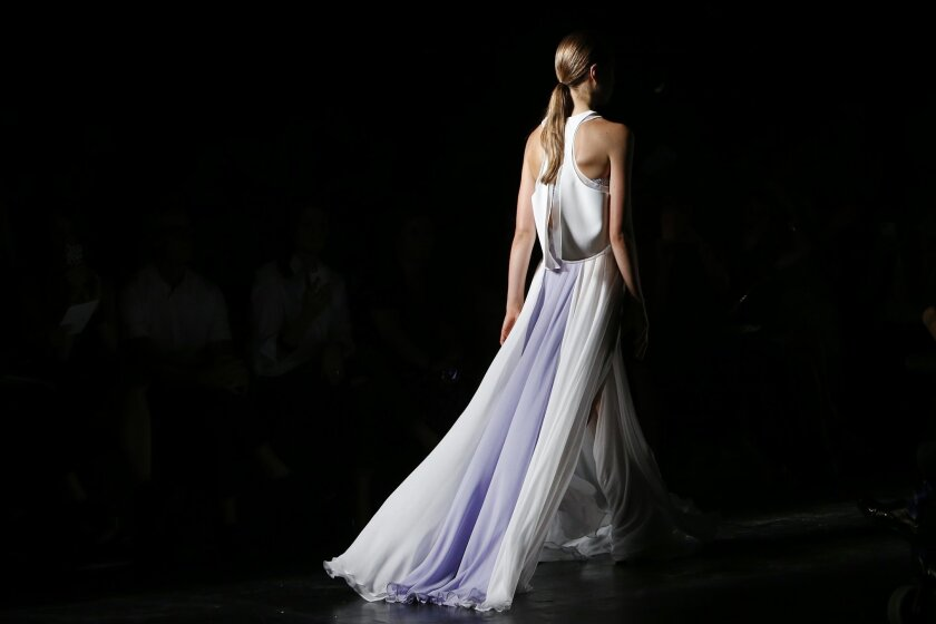 The Prabal Gurung Spring 2015 collection is modeled during Fashion Week, Saturday, Sept. 6, 2014, in New York. (AP Photo/Jason DeCrow)