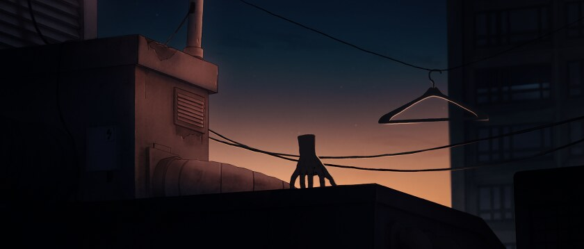 """A disembodied hand perches on a rooftop in the animated """"I Lost My Body."""""""