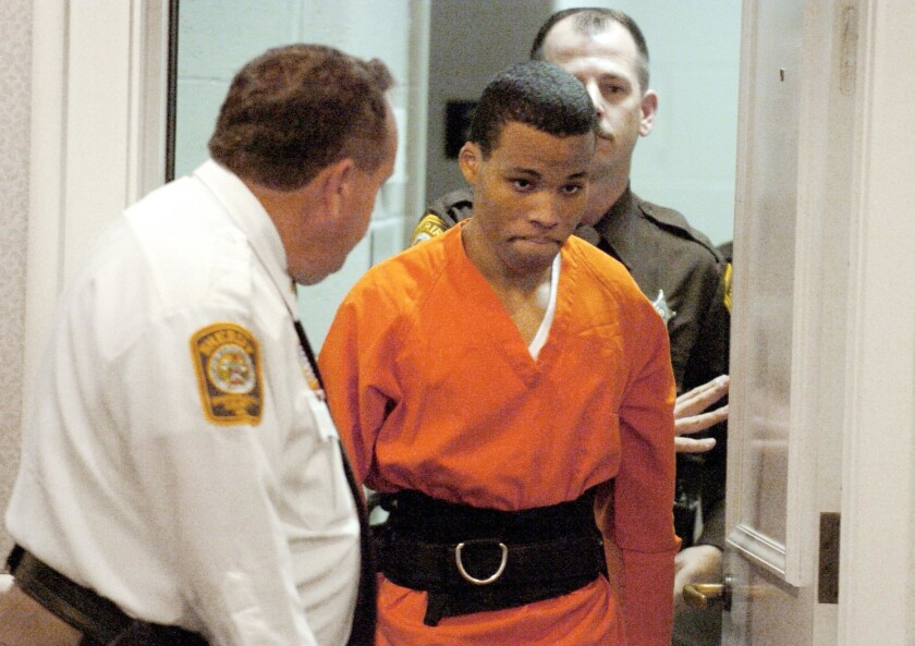 Lee Boyd Malvo enters a courtroom in the Spotsylvania, Va., Circuit Court in 2004.