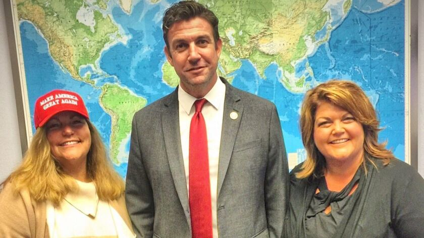 Stephanie Norvell and Chris Anderson visit with Congressman Duncan Hunter