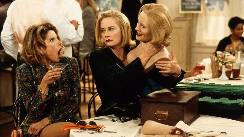 "Christine Baranski, left, and Cybill Shepherd on the set of ""Cybill"" in 1995."