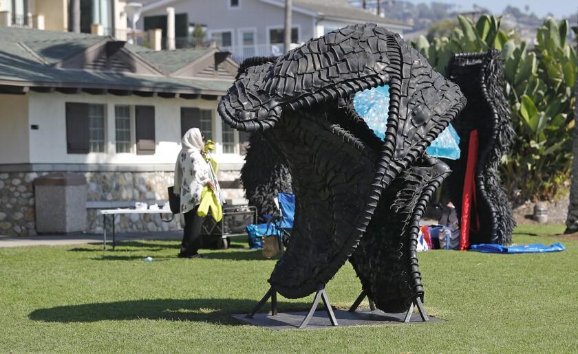 """""""Pass the Buck"""" is a new Laguna Beach public art piece by artist Chakaia Booker in Heisler Park."""