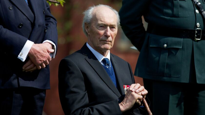 Joachim Ronneberg, 93, attends a wreath-laying ceremony in his honour at the SOE agents monument in central London on April 25, 2013, for leading the SOE operation Gunnerside where Norwegian soldiers destroyed the German occupied Heavy Water Plant in Vemork, Norway.