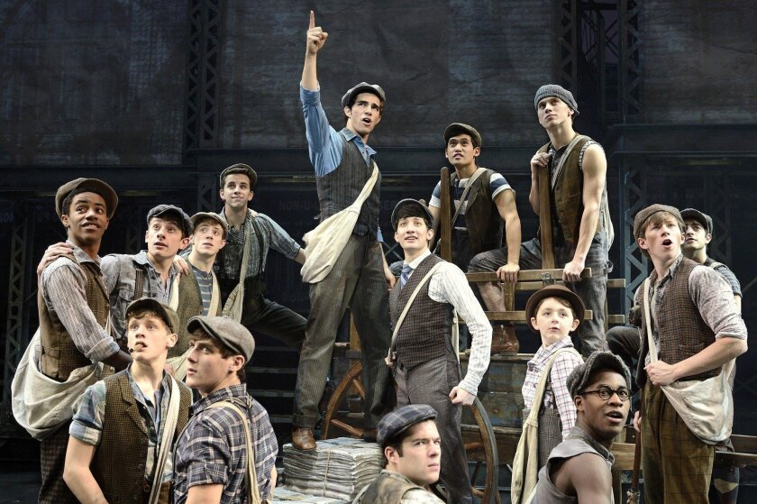 "Joey Barreiro (center) is Jack Kelly in the North American tour company of Disney's ""Newsies,"" at the San Diego Civic through Sunday."