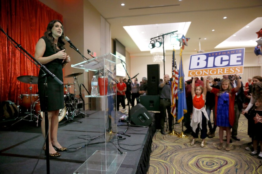 U.S. House candidate Stephanie Bice speaks during a Republican Party election night watch party in Edmond, Okla., Tuesday, Nov. 3, 2020. U.S. Rep. Kendra Horn, an Oklahoma City lawyer, faced Republican state Sen. Bice for the Oklahoma City-area House seat. (Bryan Terry/The Oklahoman via AP)