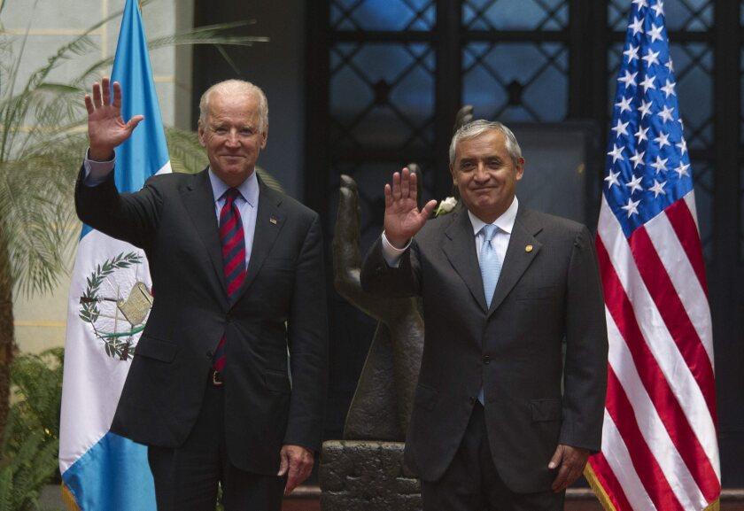 Vice President Joe Biden meets with Guatemalan President Otto Perez Molina in Guatemala City in June 2014.