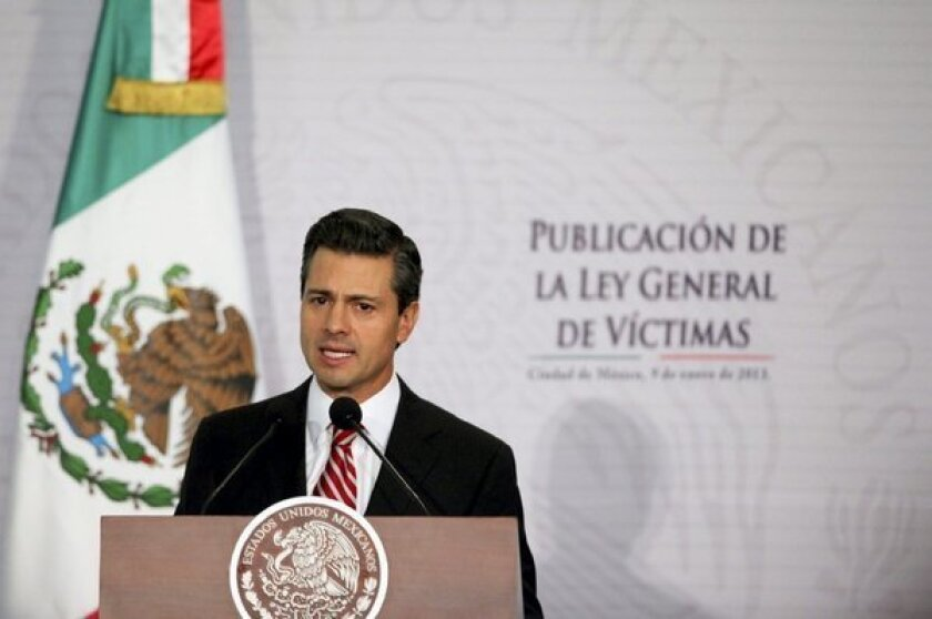 Mexico President Enrique Pena Nieto at a presentation Jan. 9, 2013, in Mexico City.