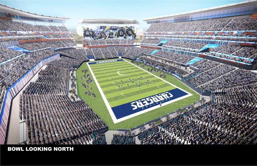 This undated artist's rendering provided by the city and county of San Diego and unveiled Aug. 10 shows a view of a $1.1-billion stadium proposed for the Chargers.