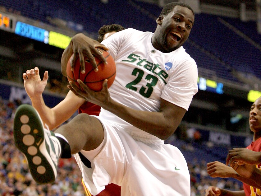Draymond Green grabs a rebound against USC during Michigan State's run to the NCAA championship game in 2009.