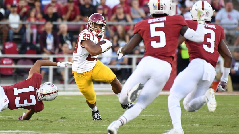 PALO ALTO, CALIFORNIA SEPTEMBER 8, 2018-USC runing back Vavae Malepeai runs against the Stanford def