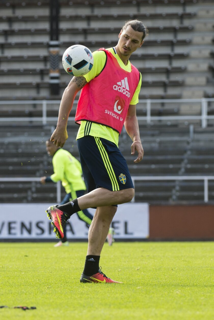 Zlatan Ibrahimovic during the Swedish national soccer team Euro 2016 training camp at the Stockholm Olympic Stadium in Stockholm, Sweden, Saturday May 28, 2016. The UEFA European Chapionship (Euro 2016) is scheduled to be held throughout France June 10 till July 10 2016. (Erik Nylander / TT via AP)