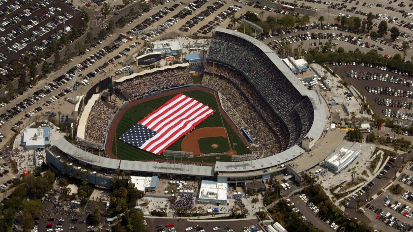 An aerial view of Dodger Stadium before the start of the 2014 home opener.