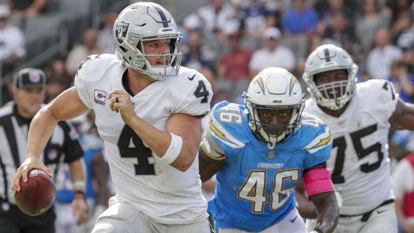 Chargers defensive end Christopher Landrum chases Raiders quarterback Derek Carr out of the pocket.