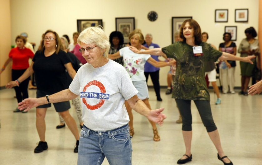 """Seniors take part in a Zumba demonstration during a """"Taste of Oasis"""" presentation in San Diego in 2015."""