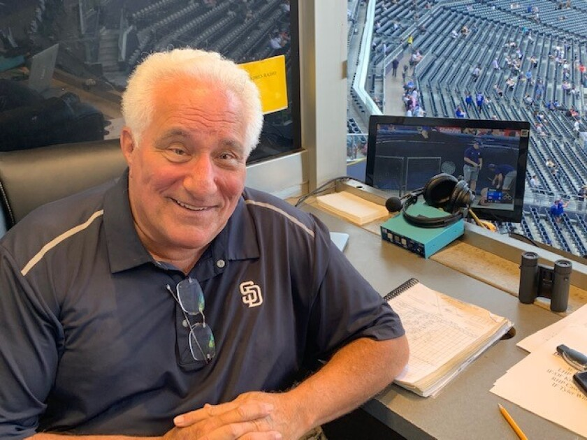 Padres broadcaster Ted Leitner in the radio booth before Tuesday's game at Petco Park.
