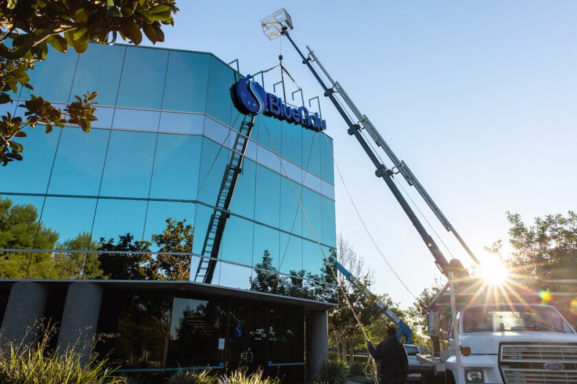 BlueNalu's signage installation at their nearly 40,000 square foot pilot production facility in San Diego.