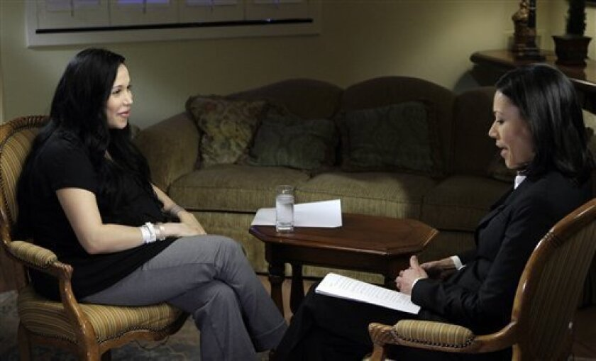 """This image provided by NBC shows Nadya Suleman, left, speaking with Ann Curry in New York on Thursday, Feb. 5, 2009, in Suleman's first interview since giving birth to octuplets last week. The interview is planned to be broadcast on the """"Today"""" show on Monday, Feb. 9 and """"Dateline"""" on Tuesday, Feb. 10. (AP Photo/NBC, Paul Drinkwater)"""
