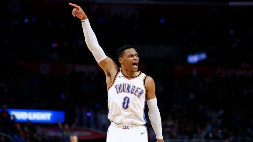 LOS ANGELES, CALIF. -- THURSDAY, JANUARY 4, 2018: Oklahoma City Thunder guard Russell Westbrook (0) celebrates after making a basket and getting fouled against the LA Clippers in the second half of the Clippers 117-127 loss at the Staples Center in Los Angeles, Calif., on Jan. 4, 2018. (Gary Coronado / Los Angeles Times)
