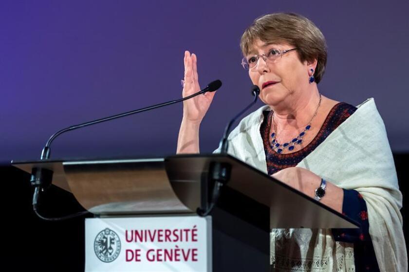 La Alta Comisionada de los Derechos Humanos de la ONU, Michelle Bachelet, pronuncia un discurso durante la Semana de los Derechos Humanos en la Universidad de Ginebra (UNIGE), en Ginebra (Suiza). EFE/Archivo