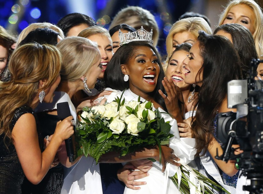 Miss New York Nia Franklin reacts after being named Miss America 2019 on Sunday.