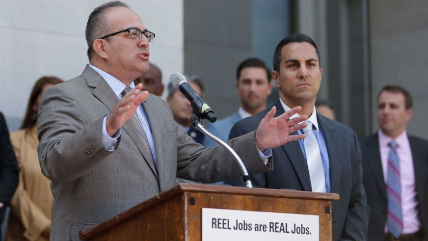 Assemblyman Raul Bocanegra, shown at left in 2014, was disciplined as a legislative staffer in 2009 after a groping allegation.