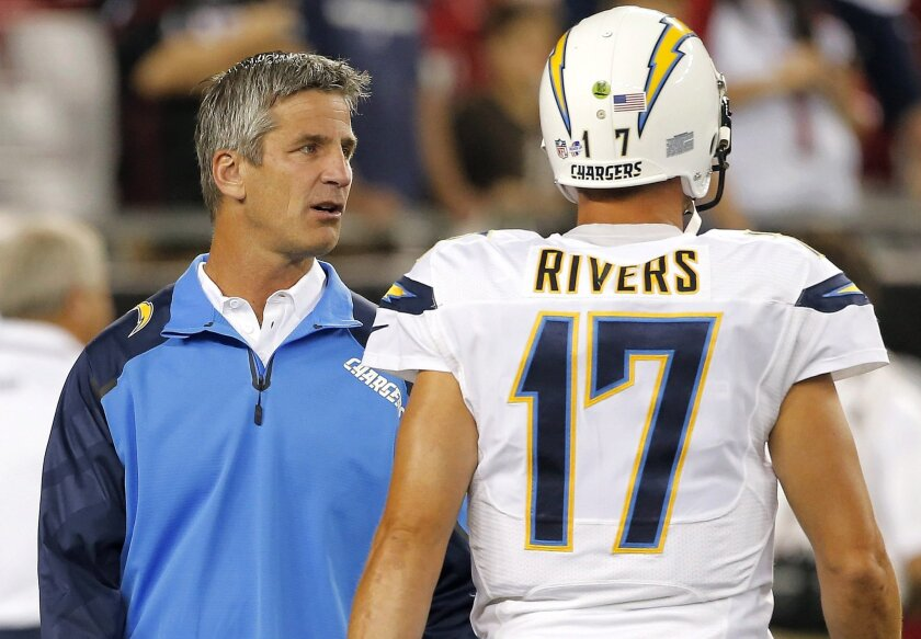 Chargers offensive coordinator Frank Reich (left) likens football to a boxing match.