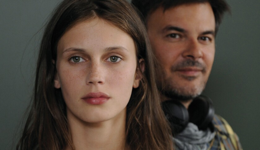 """Marine Vacth and director Francois Ozon on the set of """"Young & Beautiful."""""""