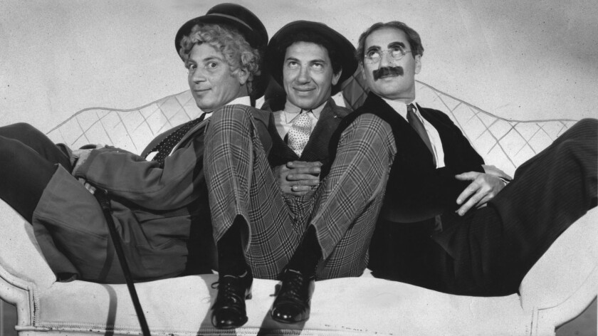 "Harpo, Chico and Groucho in ""A Night at the Opera."""