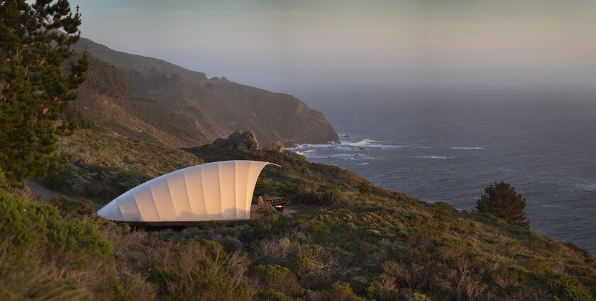 Treebones Resort's cocoon-shaped luxury tents sit in an isolated location with dramatic views of the Big Sur coastline.