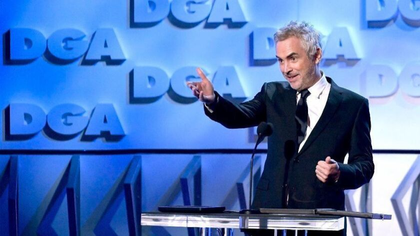 """Alfonso Cuarón accepts the Feature Film Nomination Award for """"Roma"""" at the 71st Annual Directors Guild Of America Awards in Hollywood."""