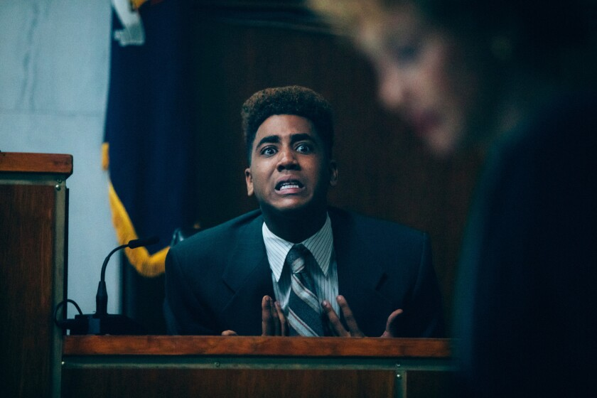"Emmy nominees Jharrel Jerome and Vera Farmiga in a scene from the Netflix series ""When They See Us."""