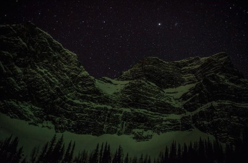 Fortress Mountain, Alberta, Canada, under aurora borealis