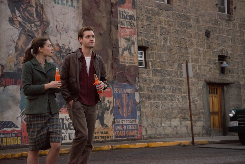 "Alexa Davalos as Juliana Crain and Luke Kleintank as Joe Blake in a scene from the Amazon Studios pilot ""The Man in the High Castle."""