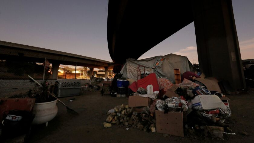 A homeless camp along West 117th Street and South Broadway in Los Angeles, where health officials have been directed to install public toilets and hand washing stations to combat the hepatitis A outbreak.