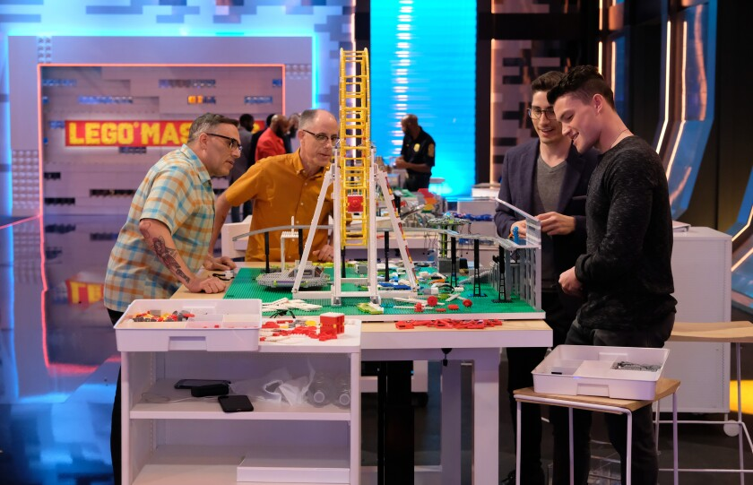 """""""Lego Masters"""" contestants Flynn De Marco, from left, Richard Board, Aaron Newman and Christian Cowgill."""
