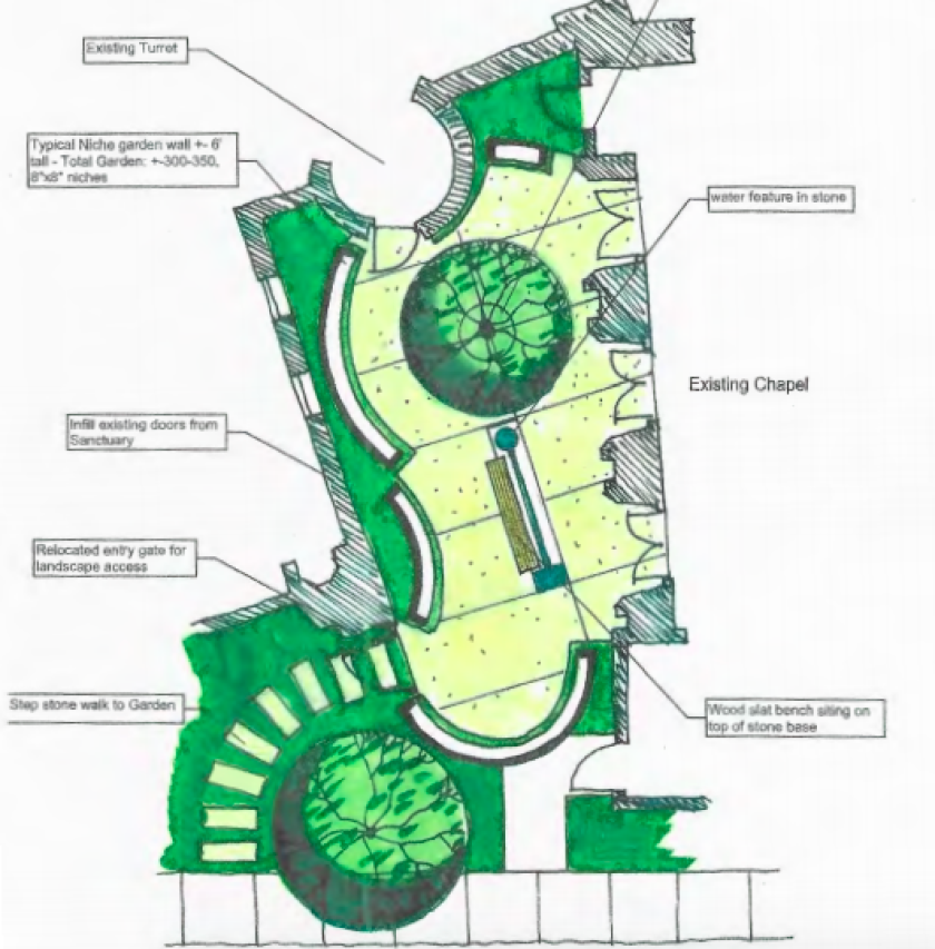 The Village Church's plan for a columbarium in their prayer garden.