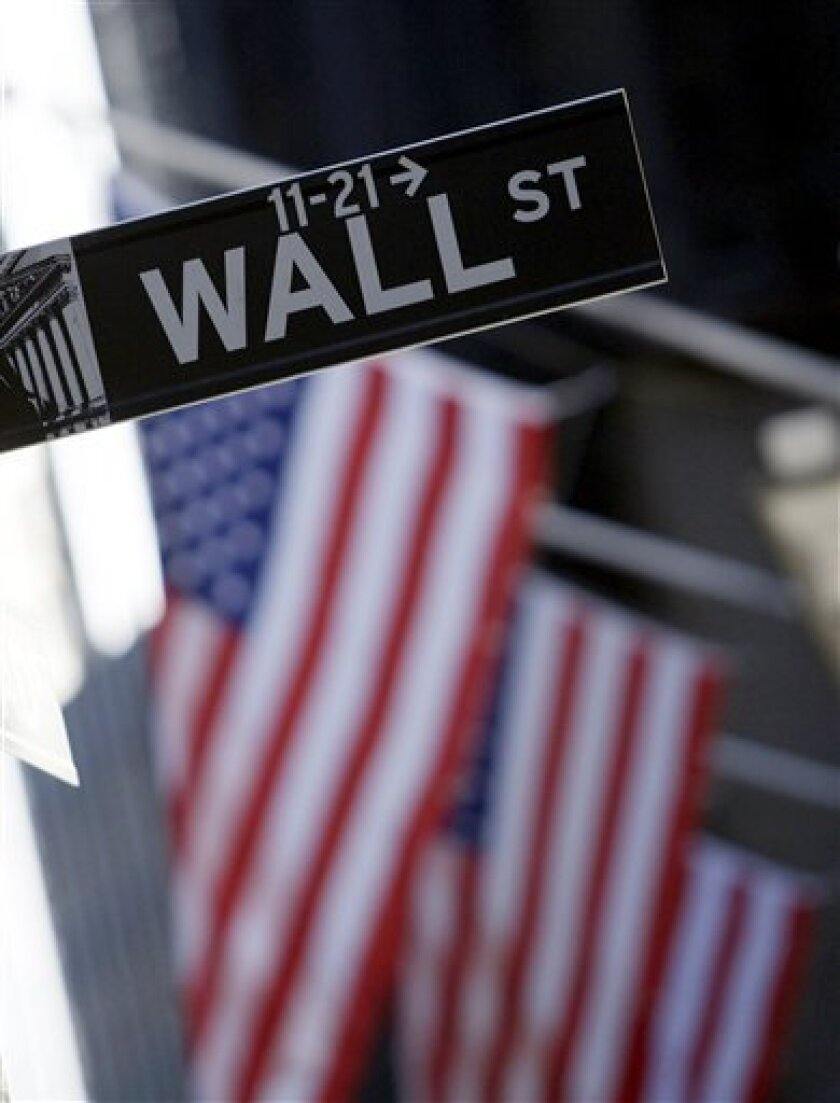 FILE - In this Sept. 15, 2008 file photo, a Wall St. street sign is seen near the New York Stock Exchange in New York. Stock index futures pointed to a lower open on Wall Street Wednesday, Jan 6, 2009, as investors refrain from any major moves while they await a stream of economic data.(AP Photo/Jin Lee)