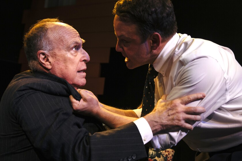 "The sins of the father (Richard Fancy, left) shatter the illusions of a naive idealist (Marc Valera) in ""All My Sons"" at Pacific Resident Theatre."