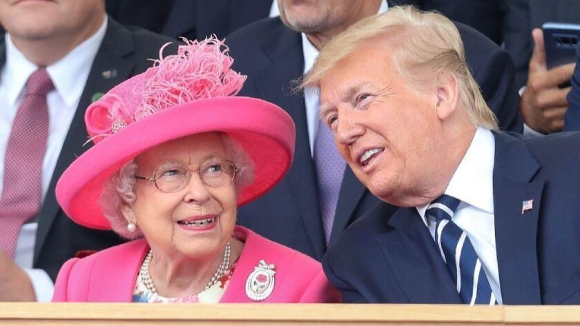 Queen Elizabeth II and President Trump attend D-day commemorations in Portsmouth, Britain, on Wednesday.