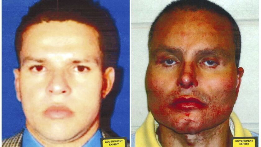 "Photos provided by federal prosecutors show former Colombian drug lord Juan Carlos ""Chupeta"" Ramirez Abadia, a witness in the trial of Joaquin ""El Chapo"" Guzman, before, left, and after his three surgeries to change his appearance."