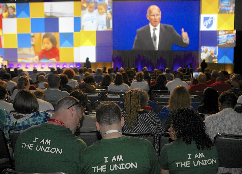 Gov. Jerry Brown addresses the American Federation of Teachers at their Reclaming the Promise convention in Los Angeles in June. Throughout his political career, Brown has had a mutually beneficial relationship with unions.