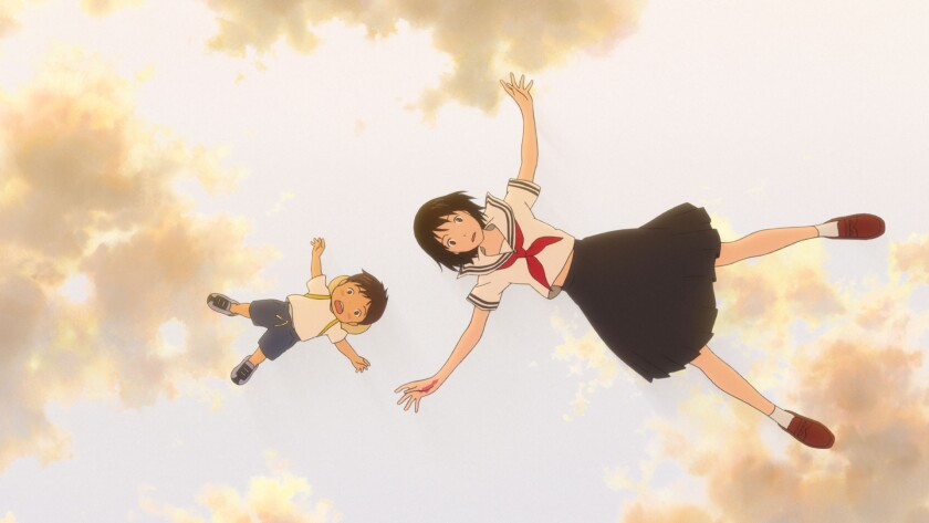 """Kun, voiced by Jaden Waldman, and Mirai, voiced by Victoria Grace, in a scene from the movie """"Mirai."""""""