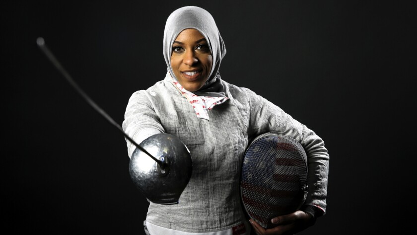 Ibtihaj Muhammad poses for her photo at the Team USA summit on March 8 in Beverly Hills.